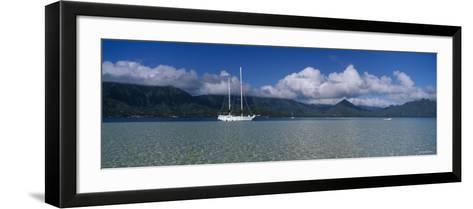 Sailboat in a Bay, Kaneohe Bay, Oahu, Hawaii, USA--Framed Art Print