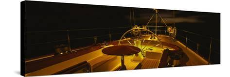 Yacht Cockpit at Night, Caribbean--Stretched Canvas Print