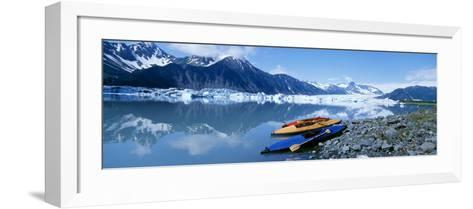 Kayaks by the Side of a River, Alaska, USA--Framed Art Print