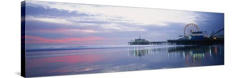 Pier with a Ferris Wheel, Santa Monica Pier, Santa Monica, California, USA--Stretched Canvas Print