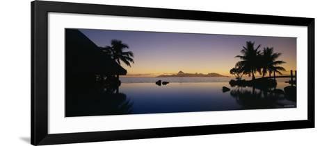 Silhouette of a Tourist Resort, Tahiti Beachcomber Resort, Papeete, Tahiti, French Polynesia--Framed Art Print