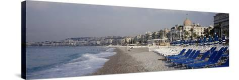 Empty Lounge Chairs on the Beach, Nice, French Riviera, France--Stretched Canvas Print