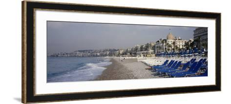 Empty Lounge Chairs on the Beach, Nice, French Riviera, France--Framed Art Print