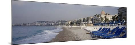 Empty Lounge Chairs on the Beach, Nice, French Riviera, France--Mounted Photographic Print