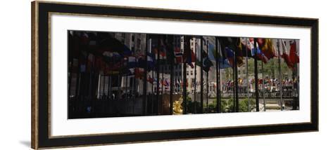 Flags in a Row, Rockefeller Plaza, Manhattan, New York, USA--Framed Art Print