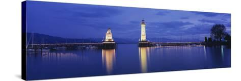 Reflection of Lighthouse in the Lake Constance, Lindau, Germany--Stretched Canvas Print
