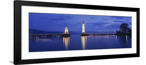 Reflection of Lighthouse in the Lake Constance, Lindau, Germany--Framed Art Print