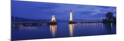 Reflection of Lighthouse in the Lake Constance, Lindau, Germany--Mounted Photographic Print
