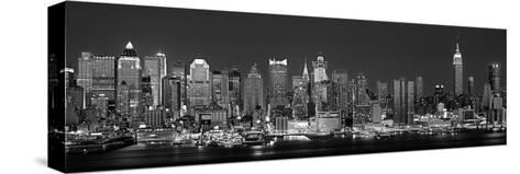 West Side Skyline at Night in Black and White, New York, USA--Stretched Canvas Print