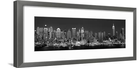 West Side Skyline at Night in Black and White, New York, USA--Framed Art Print