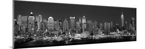 West Side Skyline at Night in Black and White, New York, USA--Mounted Photographic Print