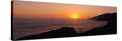 Sunset with Marine Layer, Pacific Ocean, Big Sur, California, USA--Stretched Canvas Print