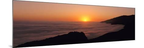 Sunset with Marine Layer, Pacific Ocean, Big Sur, California, USA--Mounted Photographic Print