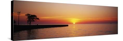 Sunrise over a Lake, Lake Michigan, Chicago, Illinois, USA--Stretched Canvas Print