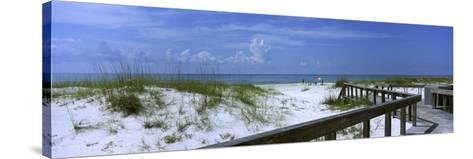 Footbridge on a Beach, St. George Island State Park, Gulf of Mexico, Florida, USA--Stretched Canvas Print