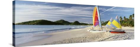 Sail Boats on the Beach, Antigua, Caribbean Islands--Stretched Canvas Print