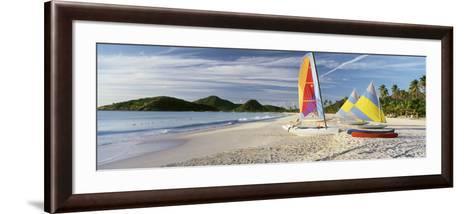 Sail Boats on the Beach, Antigua, Caribbean Islands--Framed Art Print