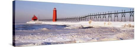 Lighthouse near a Pier, Grand Haven, Michigan, USA--Stretched Canvas Print