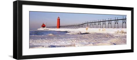 Lighthouse near a Pier, Grand Haven, Michigan, USA--Framed Art Print