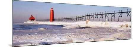 Lighthouse near a Pier, Grand Haven, Michigan, USA--Mounted Photographic Print