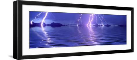 Lightning over the Sea--Framed Art Print
