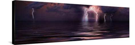 Lightning over the Sea--Stretched Canvas Print