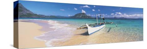 Fishing Boat Moored on the Beach, Palawan, Philippines--Stretched Canvas Print