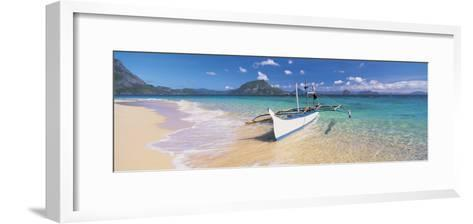 Fishing Boat Moored on the Beach, Palawan, Philippines--Framed Art Print