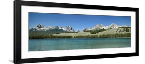 Mountains along a Lake, Sawtooth Mountains, Idaho, USA--Framed Art Print