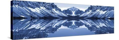 Reflection of Mountains in a Lake, Bow Lake, Banff National Park, Alberta, Canada--Stretched Canvas Print