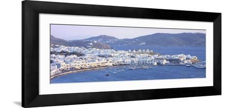Town on the Waterfront, Mykonos Harbor, Cyclades Islands, Greece--Framed Art Print