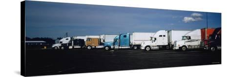 Semi-Trucks Parked on a Road, Ohio, USA--Stretched Canvas Print