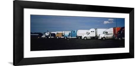 Semi-Trucks Parked on a Road, Ohio, USA--Framed Art Print