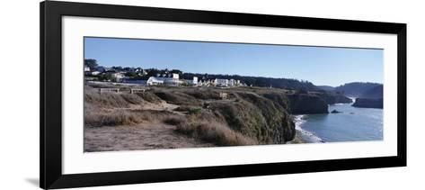 Buildings at the Coast, Mendocino, Mendocino County, California, USA--Framed Art Print