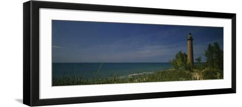 Lighthouse at the Coast, Little Point Sable Light Station, Silver Lake, Mears, Michigan, USA--Framed Art Print