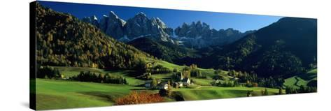 Buildings on a Landscape, Dolomites, Funes Valley, le Odle, Santa Maddalena, Tyrol, Italy--Stretched Canvas Print