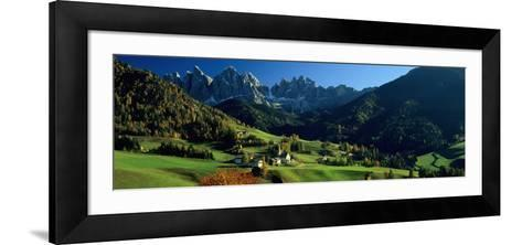 Buildings on a Landscape, Dolomites, Funes Valley, le Odle, Santa Maddalena, Tyrol, Italy--Framed Art Print