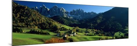 Buildings on a Landscape, Dolomites, Funes Valley, le Odle, Santa Maddalena, Tyrol, Italy--Mounted Photographic Print