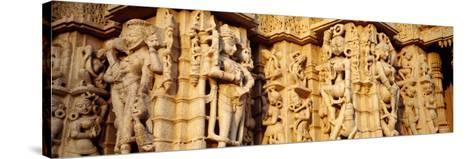 Sculptures Carved on a Wall of a Temple, Jain Temple, Ranakpur, Rajasthan, India--Stretched Canvas Print