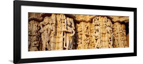 Sculptures Carved on a Wall of a Temple, Jain Temple, Ranakpur, Rajasthan, India--Framed Art Print