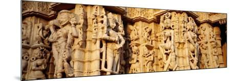 Sculptures Carved on a Wall of a Temple, Jain Temple, Ranakpur, Rajasthan, India--Mounted Photographic Print