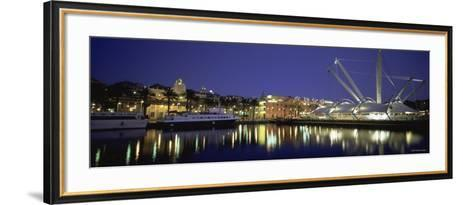 Reflection of Buildings in Water, the Bigo, Porto Antico, Genoa, Italy--Framed Art Print