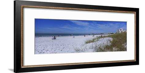 Tourists on the Beach, Crescent Beach, Gulf of Mexico, Siesta Key, Florida, USA--Framed Art Print