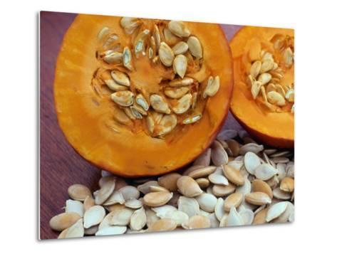 Sliced Pumpkin with Pumpkin Seeds (Cucurbita Sp) Europe-Reinhard-Metal Print