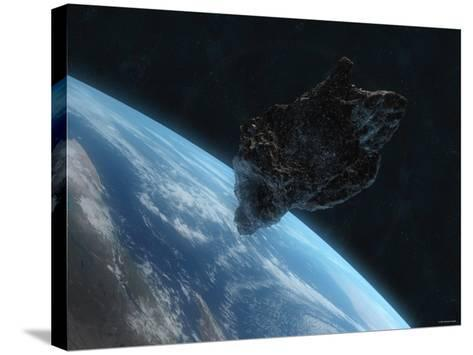 Asteroid in Front of the Earth-Stocktrek Images-Stretched Canvas Print