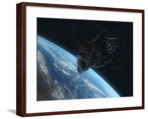 Asteroid in Front of the Earth-Stocktrek Images-Framed Art Print