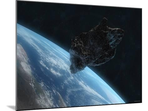 Asteroid in Front of the Earth-Stocktrek Images-Mounted Photographic Print