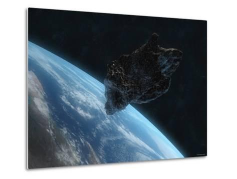 Asteroid in Front of the Earth-Stocktrek Images-Metal Print