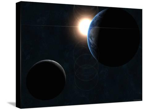 Earth, Moon and the Sun-Stocktrek Images-Stretched Canvas Print
