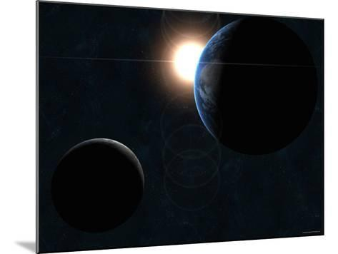 Earth, Moon and the Sun-Stocktrek Images-Mounted Photographic Print